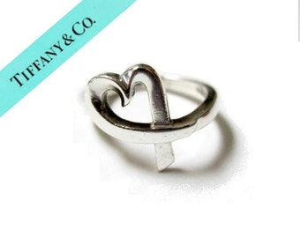 Tiffany & Co Ring Signed Paloma Picasso Vintage Loving Heart Sterling Silver Ring Size 6 1/2 Gift for Her Tiffany Jewelry Gift