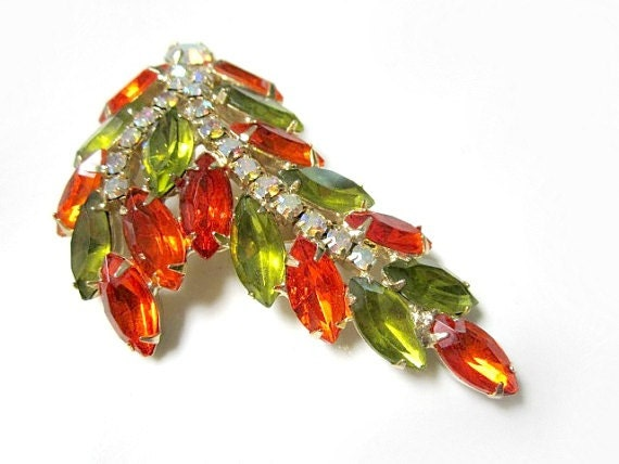 "Vintage 3"" AB Orange Green  Rhinestone Leaf Brooch Pin"
