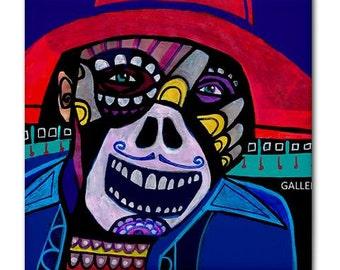Mexican Folk Art Day of the Dead Ceramic Tile Sugar Skull Skeleton