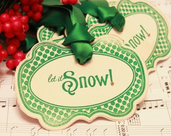 Christmas Tags (Doubled Layered) - Let it Snow (A2) - Handmade Vintage Inspired Christmas Gift Tags - Vintage Winter Tags - Set of 8