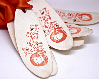 Ornate Pumpkin Tags (Double Layered) - Vintage Inspired Handmade Halloween Tags Thanksgiving Tags Autumn Tags Fall Tags (Set of 8)