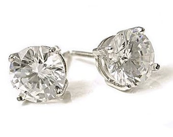 8.0ct 10mm Round Brilliant-cut Russian Ice on Fire Diamond CZ Screw Back Stud Earrings Solid 925 Sterling Silver, JEX30010-3123A