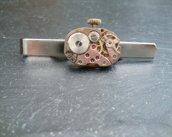 Tie Bar with rose gold Watch Movement ideal gift for a steampunk lover this christmas