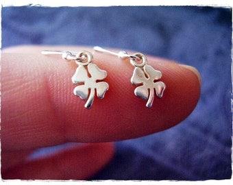 Tiny Clover Earrings - Sterling Silver Four Leaf Clover Dangle Earrings