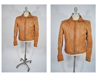 vintage leather jacket 1970s indie rock n roll size 38 small distressed