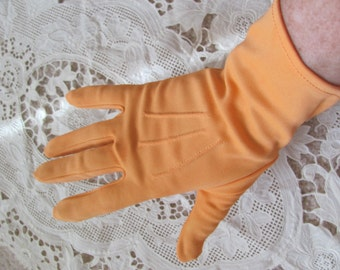 Gloves Vintage Orange Nylon Gloves 9.5 Inches Long