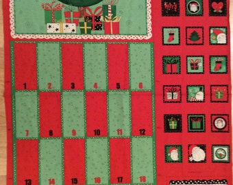 A Christmas Holiday Happy Holidays Advent Calendar Fabric Panel Free US Shipping