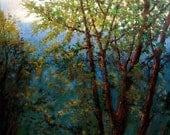HUGE 36in x 60in Green trees and mountains landscape oil painting on gallery wrap canvas.