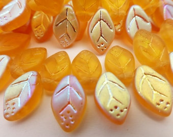 25 Czech Glass Leaves in Topaz Matte AB  12x7mm