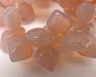 30 NEW COLOR Czech Glass Spade Beads in Pastel Light Pink Opal  8x11mm