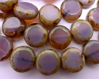 NEW COLOR   15 Czech Glass Flat Round Disc Beads in Cloudy Translucent Lavender Rose Opal with Picasso Edges  Size 11mm