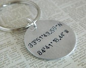 Coordinates Keychain Longitude Latitude GPS Gift for men or women