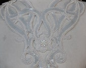 Cute embroidered  and beaded  applique  with  sequins   white  color 1 pieces listing
