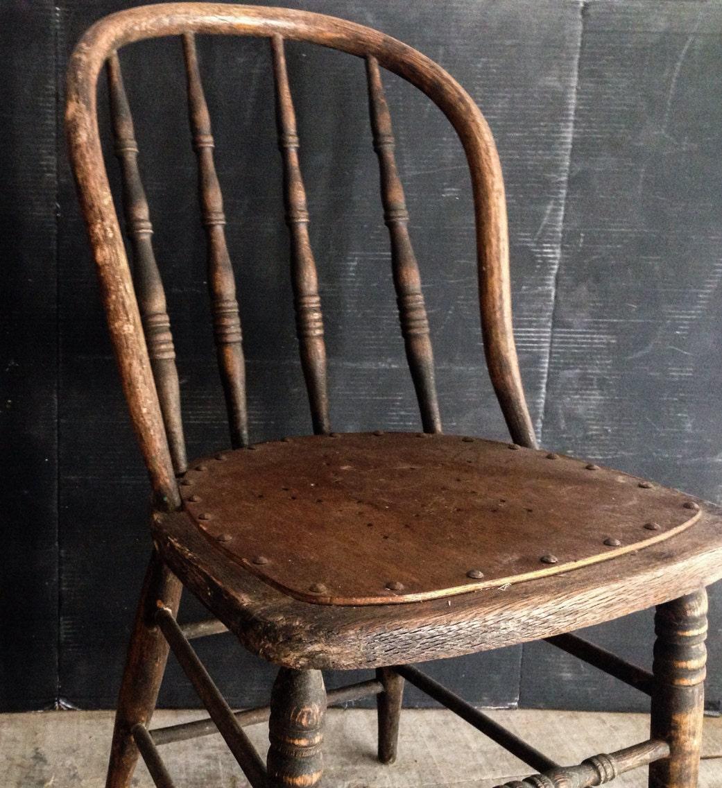 Primitive Antique Spindle Back Chair Urban Farmhouse By