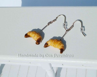 Earrings miniature croissants with chocolate- silver