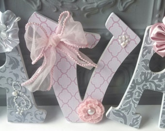 Embellished Decorative Wall Letters, embellished letters, pink and gray nursery letters, nursery decor, custom letters
