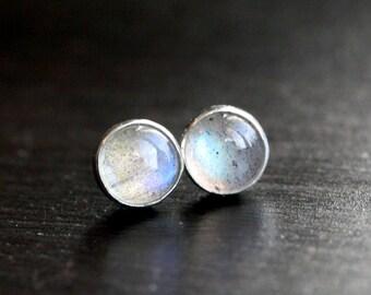 Labradorite stud earrings, small post, bezel set, gemstone, 6mm, grey, blue flash, cabochon, sterling silver, Mimi Michele Jewelry
