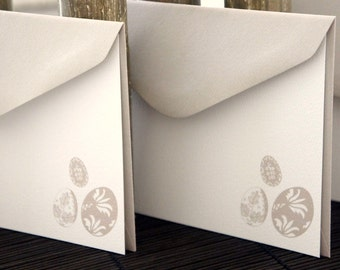 Personalized Flat Note Cards / Taupe Stone Eggs -  Set of 10