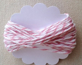 5m Pastel Pink Divine Twine - 5.4 yards cotton candy pink & white striped cotton string - gift wrapping supply - baked goods - goody bag