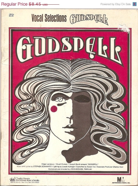 Music booklet GODSPELL Vocal Selections 1971 booklet music singing songs MUSICAL soft cover 8 x ll""