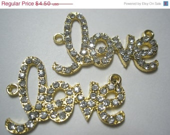 CLEARANCE SALE NEW -  Love Link - Spacer - Cross Connector - Charm with Rhinestones - 2 pieces - Gold