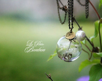 Dandelion make a wish with initial necklace