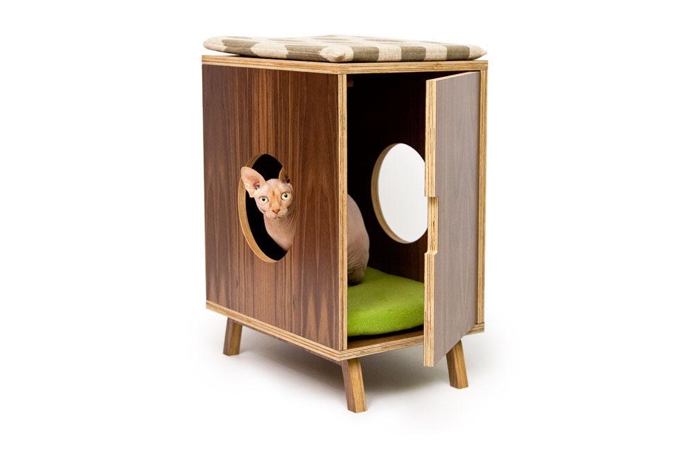 Mid Century Modern Cat Litter Box Furniture Small Cat Litter