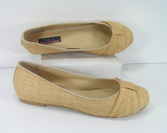 basket weave espadrilles shoes womens 8 m b tan straw huaraches Lumiani woven