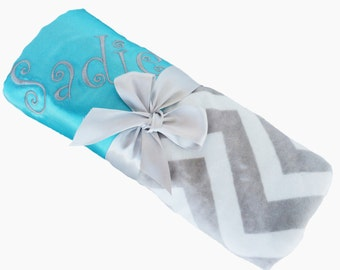 Aqua Blue Satin with Gray and White Minky Chevron Baby Blanket Personalization Included over 35 fonts to choose fro