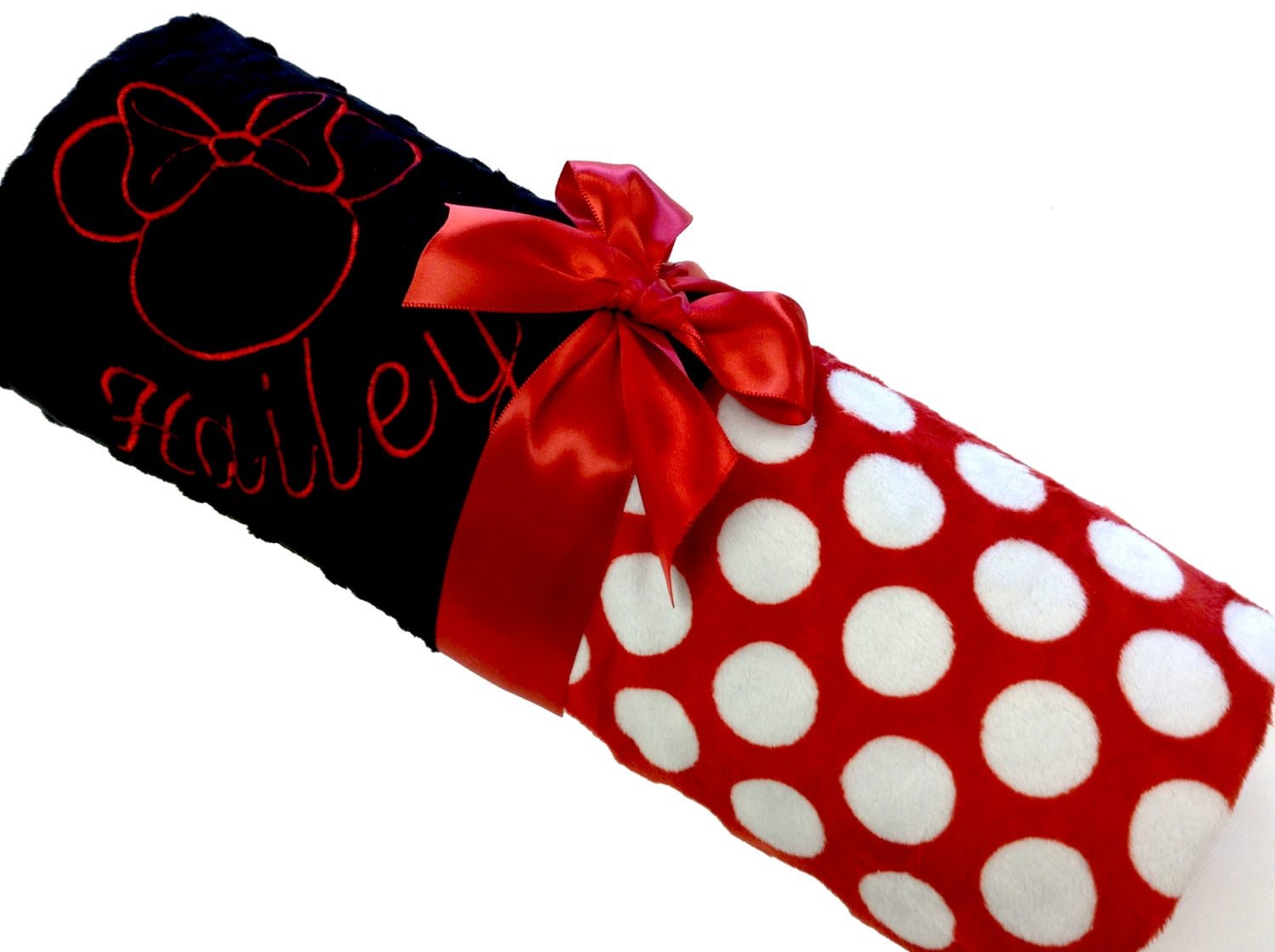 Minnie Mouse Inspired Personalized Baby Blanket Red and White