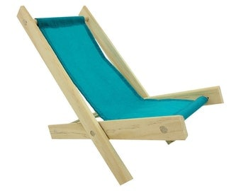 Toy Wooden Folding Beach Chair, sea green fabric