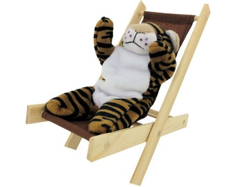 Toy Wooden Folding Lounge Chair, brown fabric