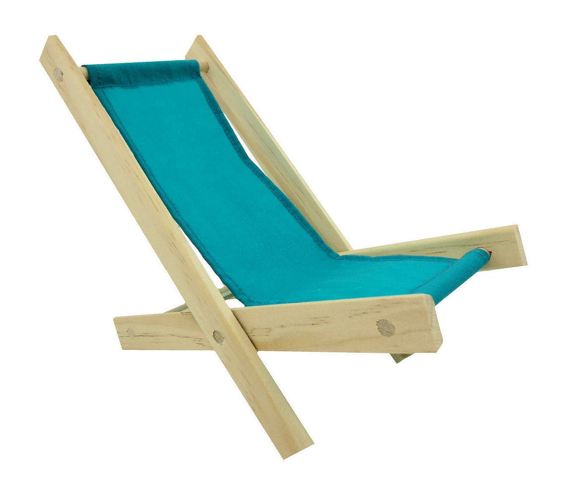 Toy Wooden Folding Beach Chair sea green fabric for dolls