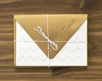 "SALE teal & gold ""hi"" chevron note cards"