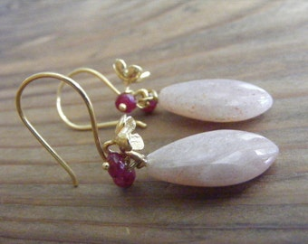 Peach Moonstone Earrings with Natural Ruby