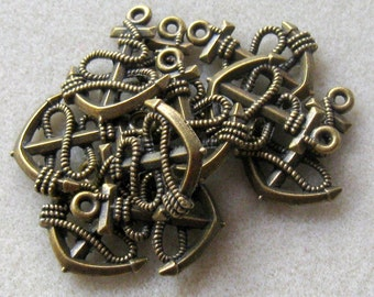 Antiqued Brass Anchor Charms Dangles Focals Findings (2)