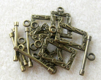 Brass Rectangle Toggle Clasp Findings Lead Free Pewter Craft Supplies Jewelry Supplies Jewelry Findings (6)