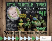 Printable TMNT Teenage Mutant Ninja Turtles Birthday Party Invitation with FREE Thank you cards -- Digital File