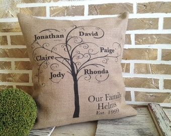 Mother's Day Gifts | Family Tree |  Family Sign | Family Name Sign | Family | Family Tree | My Family Tree | Pillow Personalized