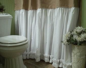 Burlap Shower Curtain - Shabby Chic - Burlap & Cotton Gathered Shower Curtain