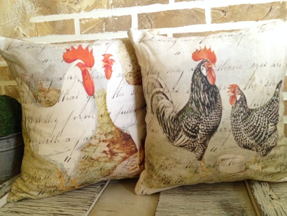 French Country Rooster Pillows Inserts Included