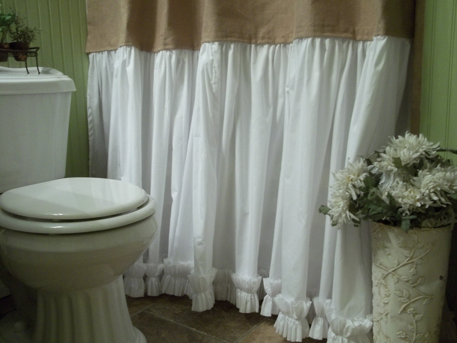 Burlap Shower Curtain Shabby Chic Burlap Amp Cotton Gathered