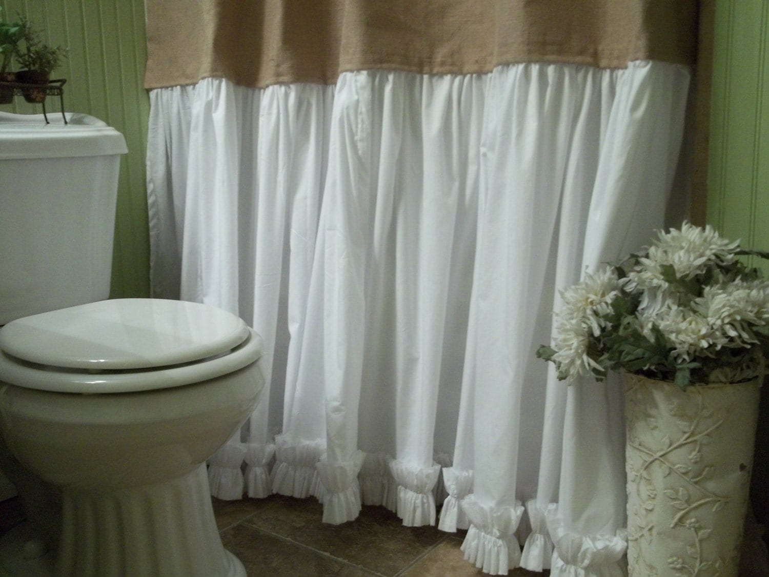 burlap shower curtain shabby chic burlap cotton gathered. Black Bedroom Furniture Sets. Home Design Ideas