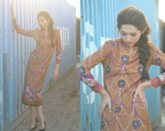 Vintage Sheath Dress 60s MEDALLION Abstract Printed Novelty Dress Geometric Modern Long Dress Long Sleeve Fall Autumn Winter