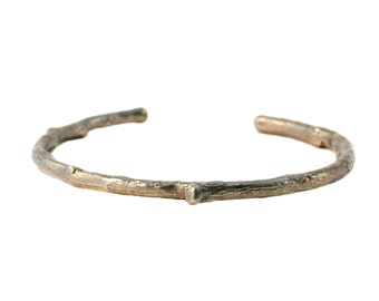 White Bronze Twig Cuff Bracelet