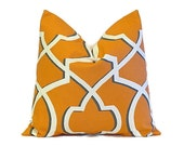 Orange Pillow Cover.Throw Pillows.ONE pillow cover.Morrow Lattice.Cushion Cover.Decorator Pillow.18x18 inch.Moroccan ALL SIZES 46 cm