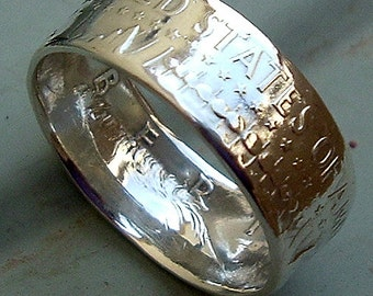 1964 Kennedy Half Dollar Coin Ring in a size 10  (90% Silver)
