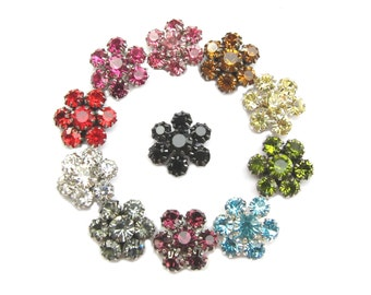 20 Crystal Rhinestone Flatback - Pick Your Colours - for Wedding Invitation Card Hairclip Scrapbooking  FRB-011 (15mm or 0.6inch)