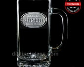Groomsman Beer Mug Gifts - Personalized OVAL CREST WEDDING Beer Mugs - 16oz Etched Glass Beer Mugs for Groomsman - Ships to Canada