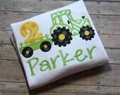 pretty fun tractor birthday appliqué shirt